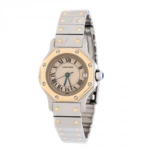 Cartier Cream 18K yellow Gold Stainless Steel Santos de Cartier 187903 Women's Wristwatch 24 mm