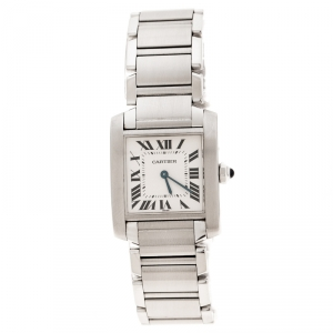Cartier White Stainless Steel Tank Francaise 2301 Women's Wristwatch 25 mm