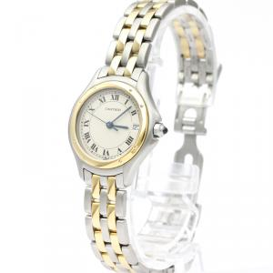 Cartier White 18K Yellow Gold And Stainless Steel Panthere Cougar 187906 Women's Wristwatch 26 MM