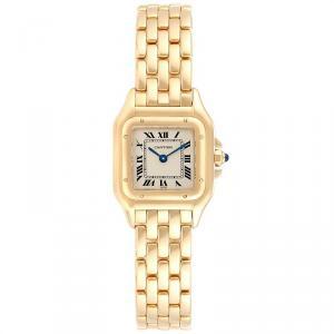 Cartier White 18K Yellow Gold Panthere W25022B9 Women's Wristwatch 22MM