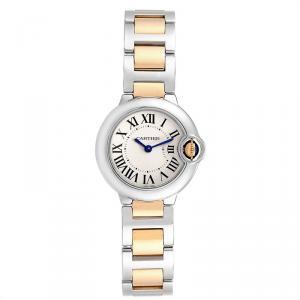 Cartier White 18K Yellow Gold Stainless Steel Ballon Blue W69007Z3 Women's Wristwatch 29 MM