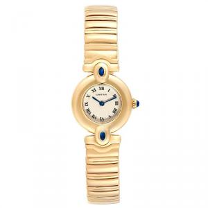 Cartier White 18K Yellow Gold Sapphire Colisee VLC Women's Wriswatch 24 MM