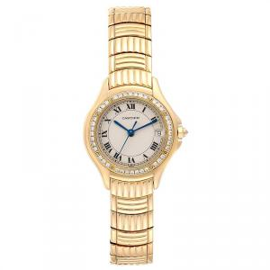 CartierWhite Diamonds And 18K Yellow Gold Panthere Cougar 1171 Women's Wriswatch 26 MM