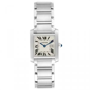 Cartier White Stainless Steel Tank Francaise W51011Q3 Women's Wriswatch 25X30 MM