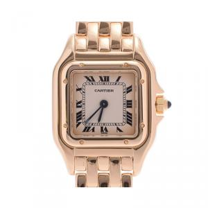 Cartier Silver 18K Yellow Gold Panthere Women's Wristwatch 22MM