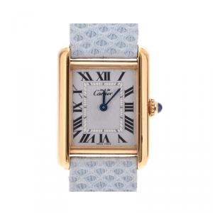 Cartier White Gold Tone Silver W1018587 Women's Wristwatch 21×28 MM