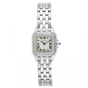 Cartier Silver and Stainless Steel Panthere W25033P5 Women's Wristwatch 22 MM