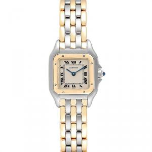 Cartier Cream 18K Yellow Gold and Stainless Steel Panthere W25029B6 Women's Wristwatch 22MM