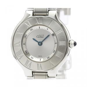 Cartier Silver Stainless Steel Must 21 W10109T2 Women's Wristwatch 28 MM
