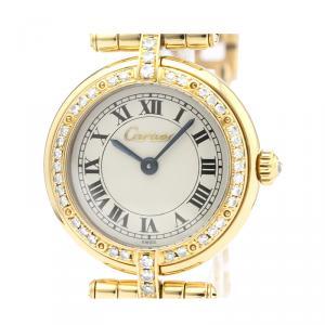 Cartier Silver Diamonds 18K Yellow Gold Panthere Women's Wristwatch 24 MM