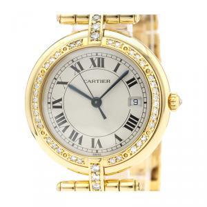 Cartier Silver Diamonds 18K Yellow Gold Panthere Women's Wristwatch 30 MM