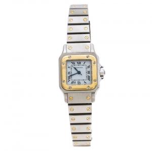Cartier White Stainless Steel 18K Yellow Gold Santos Galbée Women's Wristwatch 24 mm