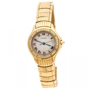 Cartier Cream 18K Yellow Gold Diamonds Panthere Cougar 1171 Women's Wriswatch 26 MM