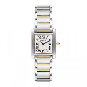 Cartier Silver 18K Yellow Gold Stainless Steel Tank Francaise W51007Q4 Women's Wristwatch 20X25MM