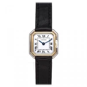 Cartier Silver 18K White Gold 18K Yellow Gold nd Alligator Strap Ceinture Women's Wristwatch 25MM