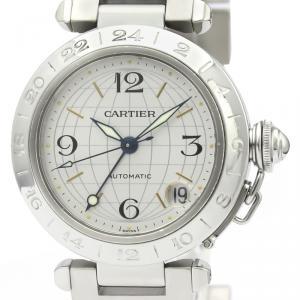 Cartier Silver Stainless Steel Pasha C Meridian W31029M7 Women's Wristwatch 35 MM