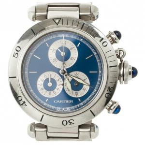 Cartier Pasha SS Chronograph Womens Wristwatch 35 MM