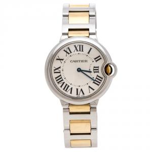 Cartier Silver White Stainless Steel 18K Yellow Gold Ballon Bleu de Cartier 3005 Women's Wristwatch 36 mm