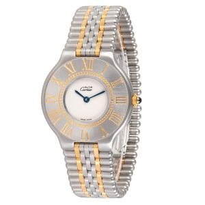 Cartier Silver Gold Plated and Stainless Steel Must 21 9010 Women's Wristwatch 31MM
