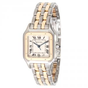 Cartier Ivory 18K Yellow Gold and Stainless Steel Panther 183949 Women's Wristwatch 26MM