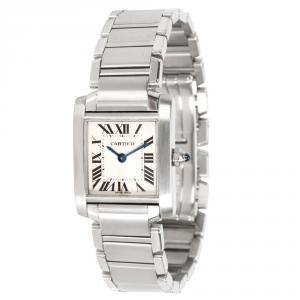 Cartier Silver and Stainless Steel Tank Francaise W51008Q3 Women's Wristwatch 20MM