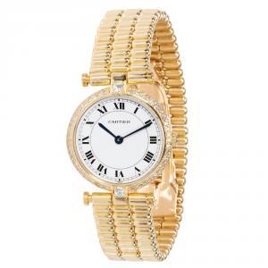 Cartier White 18K Yellow Gold Diamond Vendome L.C. 8107 Women's Wristwatch 24MM