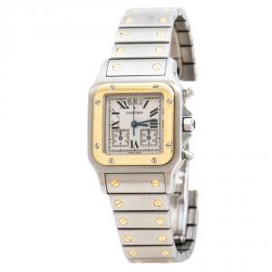 Cartier Cream 18K Yellow Gold Stainless Steel Santos Galbée 2425 Women's Wristwatch 29 mm