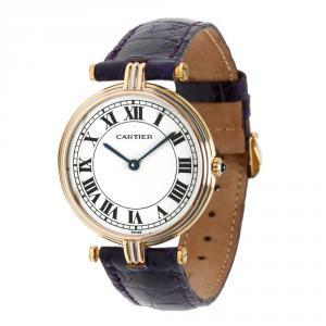 Cartier White 18K 3 Tone Gold Vendome 8988 Women's Wristwatch 30MM