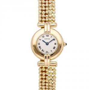 Cartier White 18k Yellow Gold Colisee W1500300 Women's Wristwatch 24 MM