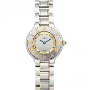 Cartier Silver Stainless Steel Gold Plated Must 21 W10073R6 Women's Wristwatch 28 MM