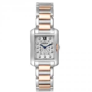 Cartier Silver Diamonds Stainless Steel And 18K Rose Gold Tank Anglaise WT100024 Women's Wristwatch 30 x 22 MM