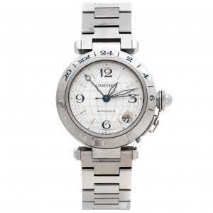 Cartier Silver Stainless Steel Pasha De Cartier GMT 2377 Women's Wristwatch 35 mm