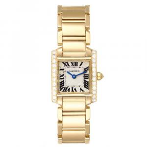 Cartier Silver 18K Yellow Gold and Diamond Tank Francaise WE1001R8 Women's Wristwatch 20.0 x 25.0MM