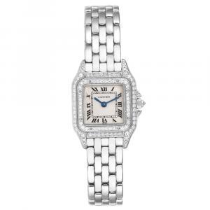 Cartier White Diamonds And 18k White Gold Panthere 1660 Women's Wristwatch 22 x 22 MM