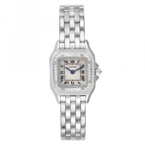 Cartier Silver Diamonds And 18k White Gold Panthere WF3091F3 Women's Wristwatch 22 x 22 MM