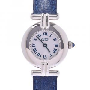 Cartier White Sterling Silver Must De Cartier Colisee Women's Wristwatch 24 MM
