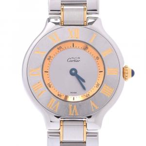 Cartier Silver Stainless Steel Gold Plated Must 21 W10073R6 Women's Wristwatch 25 MM