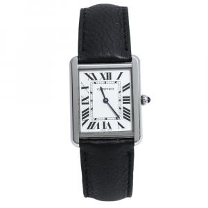 Cartier Silver White Stainless Steel Tank Solo 3169 Women's Wristwatch 27 mm