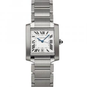 Cartier Silver Stainless Steel Tank Francaise W51002Q3 Women's Wristwatch 32 x 28 MM