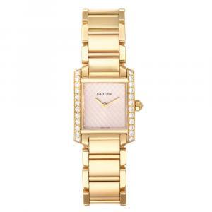 Cartier Rose Diamonds 18K Yellow Gold Tank Francaise 2403 Women's Wristwatch 20 x 25 MM