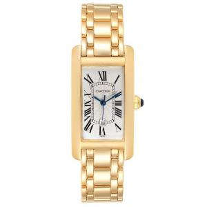 Cartier Silver 18K Yellow Gold Tank Americaine Automatic 1725 Women's Wristwatch 23 x 42 MM