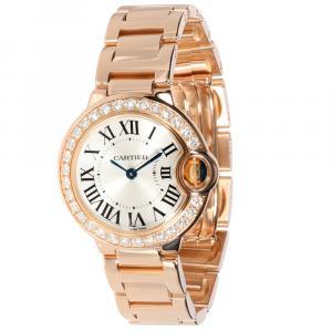 Cartier Silver Diamonds 18K Rose Gold Ballon Bleu WE9002Z3 Women's Wristwatch 29 MM