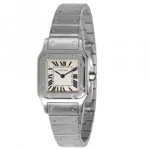 Cartier White Stainless Steel Santos Galbee W20056D6 Women's Wristwatch 23 MM