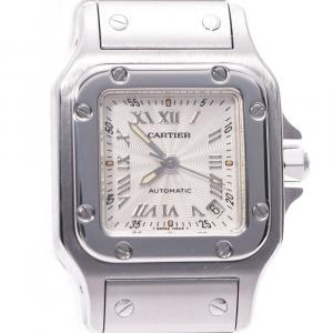 Cartier Silver Stainless Steel Santos Galbee 20th Anniversary Women's Wristwatch 24 MM
