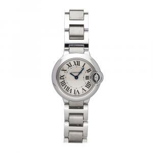 Cartier Silver Stainless Steel Ballon Bleu de Cartier W69010Z4 Women's Wristwatch 28 MM