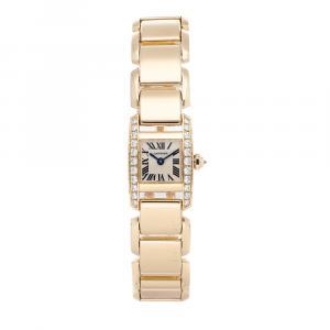 Cartier Silver Diamonds 18K Yellow Gold Tankissime WE70047H Women's Wristwatch 15 x 17 MM