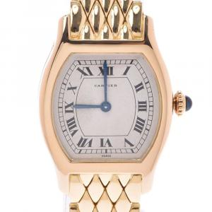 Cartier White 18K Yellow Gold Tonneau Lady Women's Wristwatch 22 MM