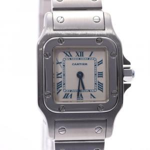 Cartier White Stainless Steel Santos Galbee Women's Wristwatch 23 MM