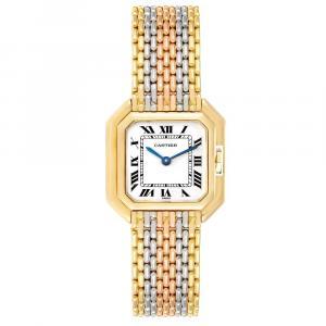 Cartier White 18K White Yellow Rose Gold Ceinture Paris Trinity Women's Wristwatch 22.5 MM