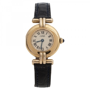 Cartier Cream Yellow Gold Plated Silver Leather Colisee 590002 Women's Wristwatch 24 mm